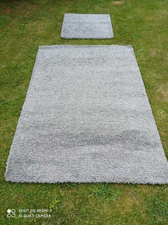 IKEA HAMPEN dywan z długim włosiem szary 80x80 i 133x195