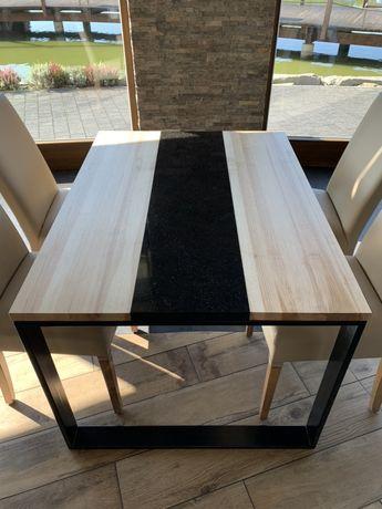 Nowoczesny stół lite drewno + granit star galaxy! Loft, nowość!