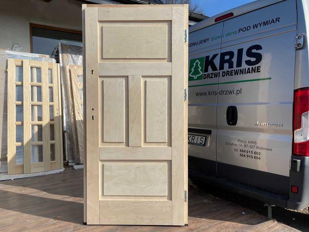 Drzwi drewniane zewnętrzne ocieplane z oscieżnicą CAŁA POLSKA OD RĘKI