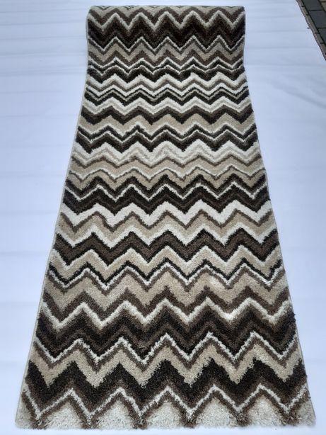 nowy dywan chodnik beżowy 80x300 brązowy zygzak gruby