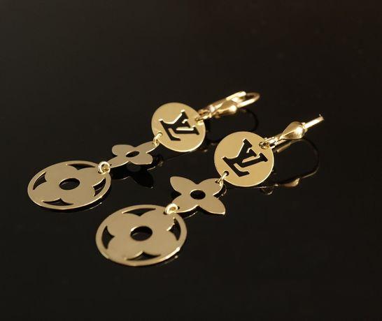 Złoto 333 - złote kolczyki długie wiszące Celebrytki LV