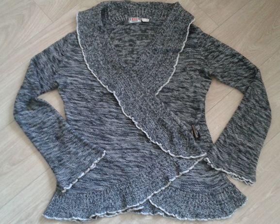 Sweter 40/42 M/L damski wiosenny jesienny kardigan czarno-biały