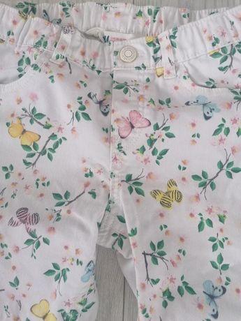 Spodnie lato kwiaty h&m 122 128 dziewczynka spodnium