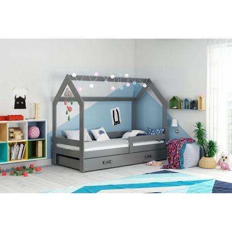 Łóżko Domek dziecięce z materacem i stelażem 160x80, grafit, biały