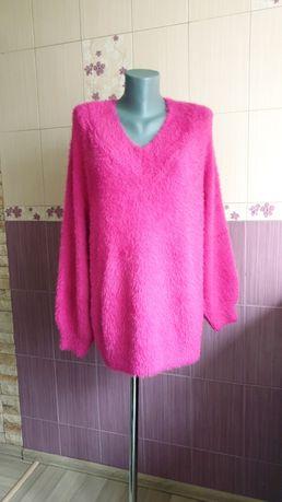 Малиновый свитер оверсайз травка фирменный яркий стильный