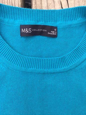 Bawełniany sweter, bluzka M&S, 100 bawełna, piękny kolor, M, L