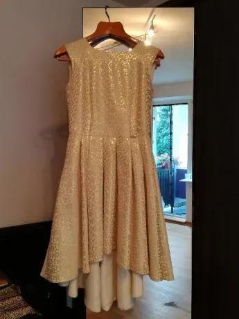 Modello piękna złota sukienka 38/M studniówka bal wesele chrzciny