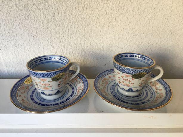 Conjunto Porcelana Chinesa 2 Pires + 2 Chávenas