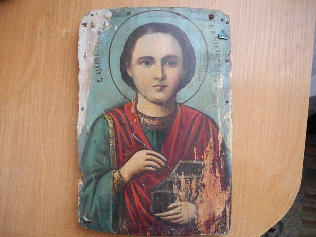 Старая икона Святого целителя Пантелеймона. доска, масло, 24х16х2 см.