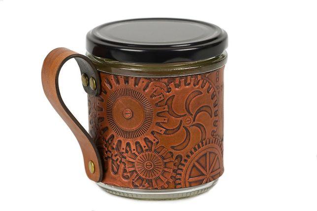 Kubek Steampunk do kawy herbaty wykończenie skóra naturalna