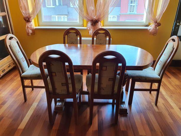 Stół dębowy +6 krzeseł