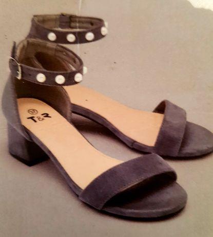 Sandały na kostkę (na klocku, słupku )szare zamszowe