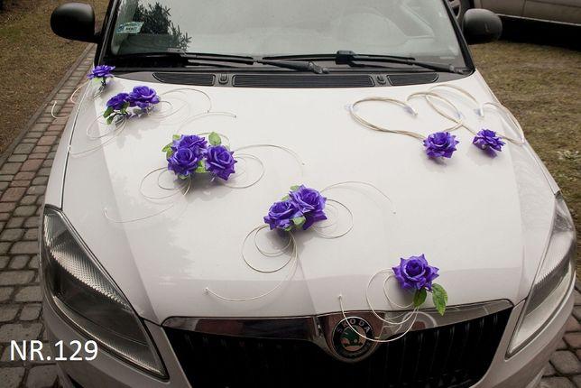 Dekoracja na samochód/ciemny fiolet/ślub/wesele/auto do ślubu/ozdoba
