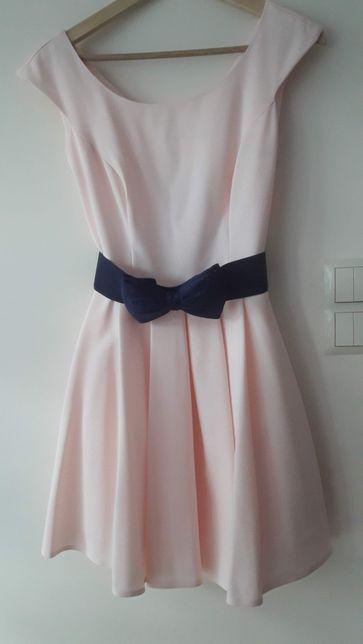 Sukienka krótka rozkloszowana wesele komunia rozm 38 róż