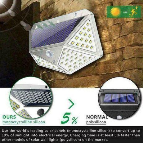 lâmpada solar a prova de agua 100 leds