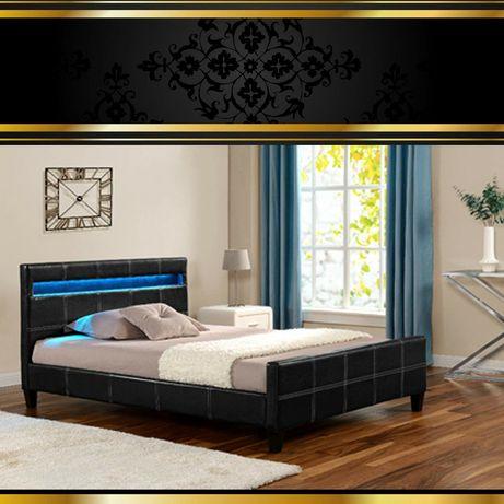 Łóżko sypialniane LUNA 160x200, 140x200 tapicerowane OKAZJA, skóra