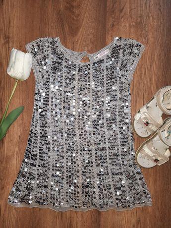 Платье с пайетками на девочку 5 лет, босоножки 24 размер