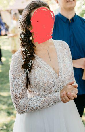 Sprzedam suknię ślubna koronka i tiul 40
