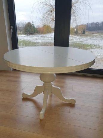 Stół na drewnianej toczonej nodze rozkładany shaby vintage