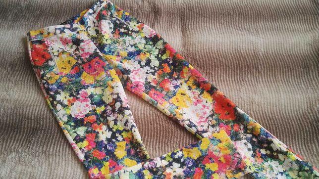 Eleganckie Spodnie XS 34 spodnie garniturowe w kwiaty w kantkę