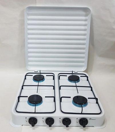 Газовая плита настольная таганок Domotec MS-6604 на 4 конфорки (Белая)