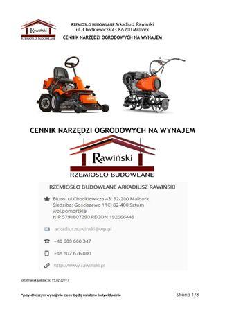 Wynajem sprzętu ogrodowego - Malbork, Sztum, Elbląg, Tczew, Nowy Dwór