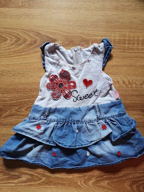 Sukienka jeansowa w aplikacją r. 74