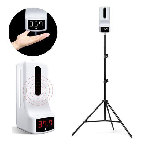 Kit Termómetro Infravermelhos / Dispensador Desinfetante e Tripé