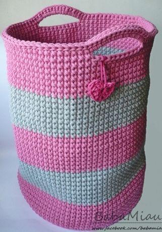 Kosz XL ze sznurka bawełnianego - kolory