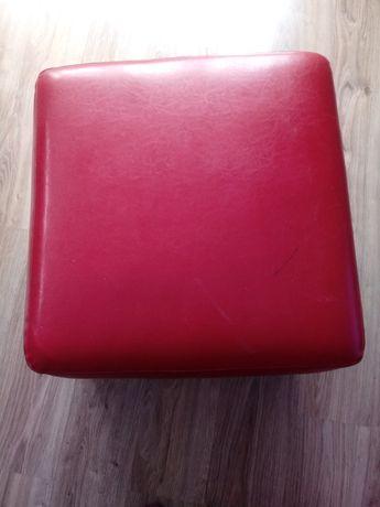 Pufa, siedzisko czerwona skóra