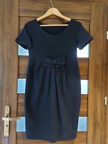 Granatowa sukienka ciazowa z kokardą