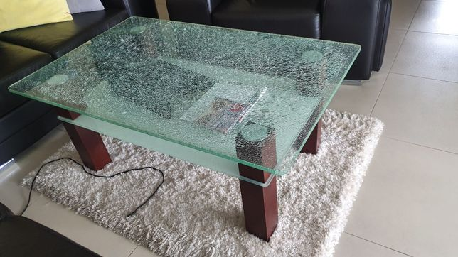 Ława stolik kawowy 120x75 szkło tłuczone