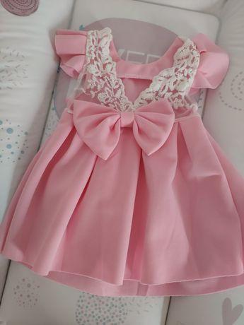 Różowa sukienka dziewczęca 74 uroczystości chrzest