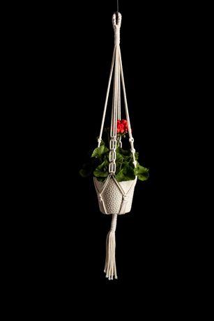 Kwietnik wiszący boho makrama balkon/taras pelargonie zioła 110cm