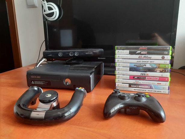 Xbox 360 s 250gb+kinect+kierownica+gry