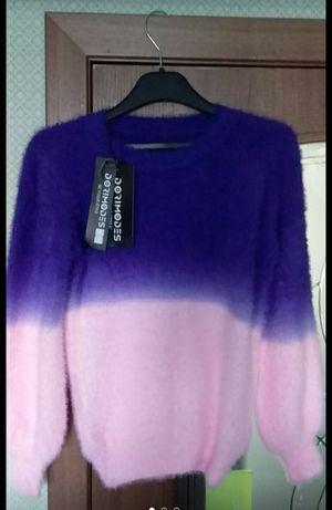 женский свитер ангора градиент