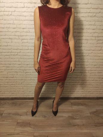 Piękna czerwona sukienka midi sylwestrowa lata 60