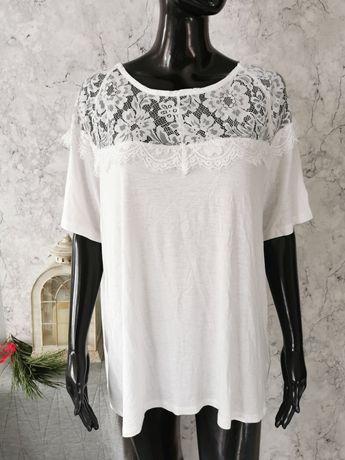 Biała elegancka bluzka dekolt koronkowy rozmiar 44 XXL