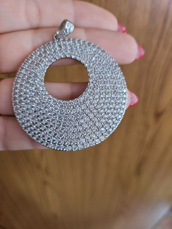Duuuży srebrny wisior 925 srebro rodowane