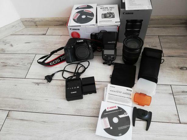 Canon 70d mały przebieg +obiektyw Canon 17-55 +lampa błyskowa