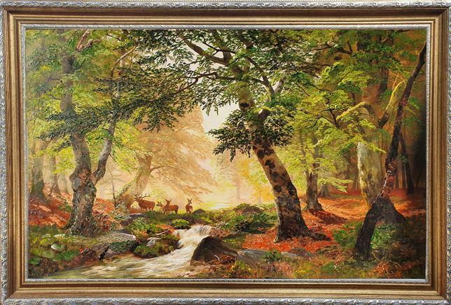 """""""Олени в утреннем лесу"""" Картина маслом на холсте. Торг!"""
