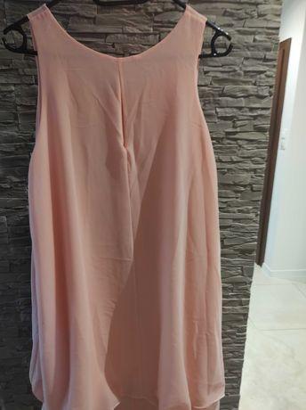 Sukienka z falbankami , pudrowy róż, rozm XL