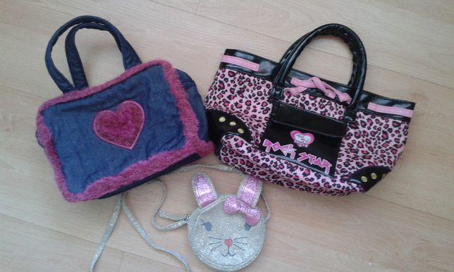 Komplet Torebka dziewczęca torebki 3szt dziecięca z uszkami zestaw