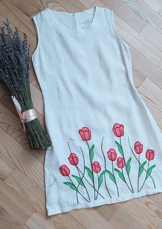 Льляное  платье.