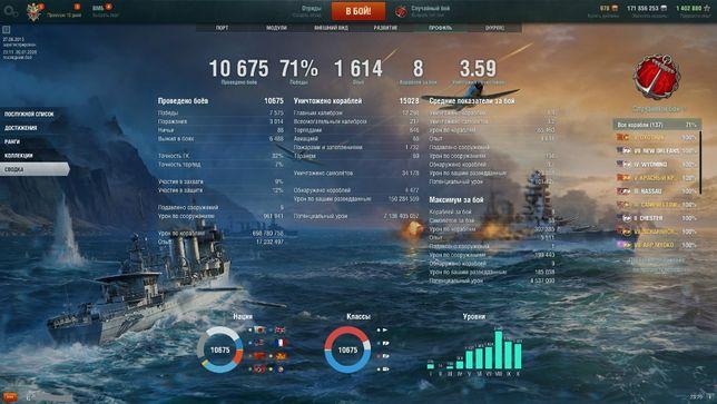 АККАУНТ 71%, 10675 боев World of warships ЗБТ