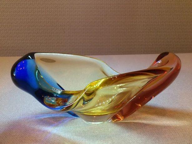 Ваза пепельница разноцветное стекло фигурное стекло Чехословакии