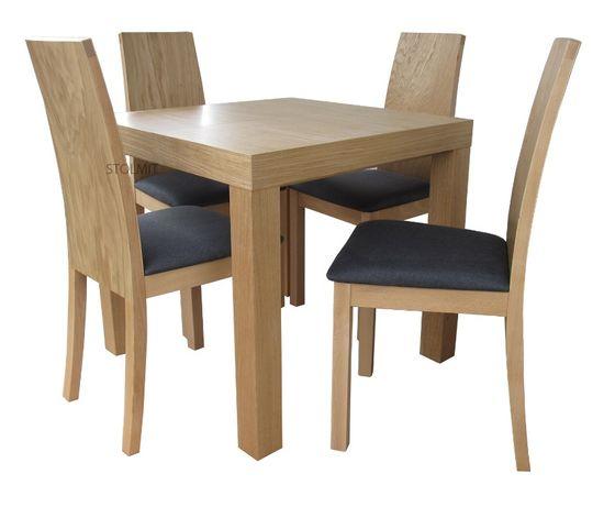Dębowy kwardatowy stół rozkładany z dwoma wkładami + 4 krzesła Kraków