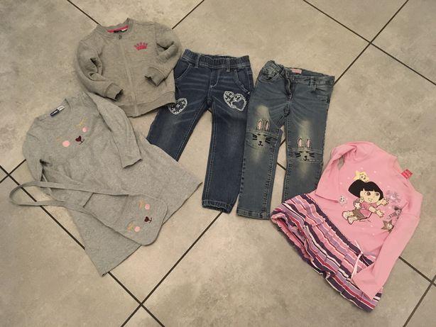 Zestaw rzeczy 104 bluza spodnie sukienki