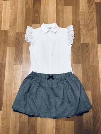 Школьные белые блузки длинный и короткий рукав