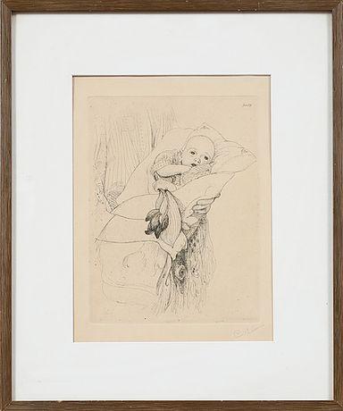 Akwaforta powstała 1913 syg C.L. Gunlög - dziecko z tulipanami